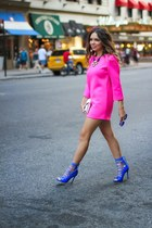 blue Shoedazzle shoes - hot pink Style Mafia dress - white Henri Bendel bag