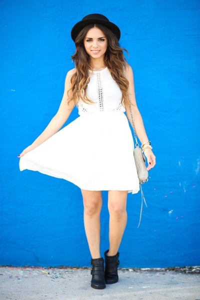 black Forever 21 hat - black pink and pepper boots - white 2020AVE dress
