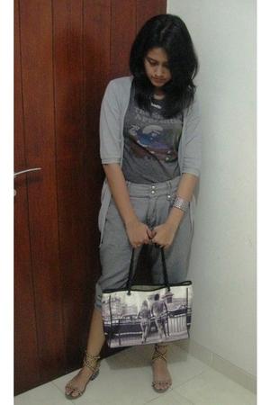 silver Yuan cardigan - silver t-shirt - silver ribbonshop pants - silver NABLY s