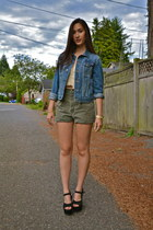 jean jacket Gap jacket - American Eagle shirt - thrifted vintage shorts