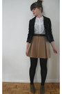 Dark-brown-thrift-store-blazer-camel-dotti-skirt-white-miss-shop-top