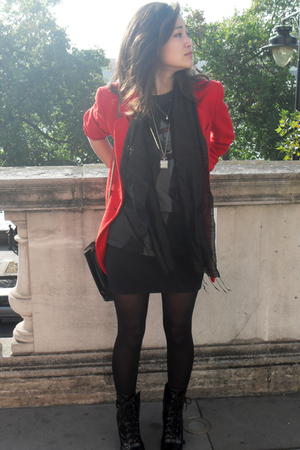black Miss Selfridges boots - red charity shop blazer - gray Buddhist Punk t-shi