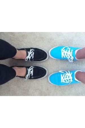 black black vans thrifted shoes - light blue light blue vans thrifted shoes