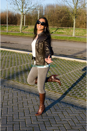 leather Dorothy Perkins boots - grey Bershka jeans