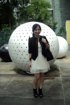 cream tutu thrifted dress - bought online blazer - chanel GST bag