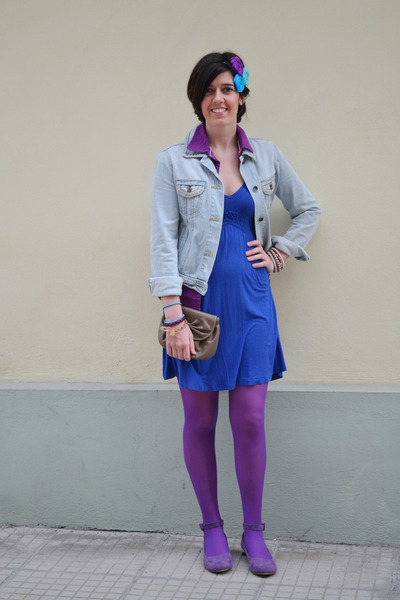 blue Zara dress - light blue jean Mango jacket - purple Calzedonia tights