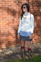 brown leopard Migato boots - ivory Primark sweater - light blue Bershka shirt