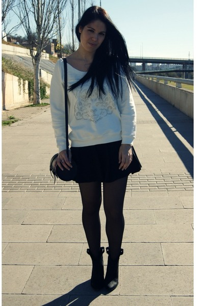 cream Zara sweater - black Primark skirt