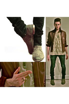suede H&M boots - H&M jeans - leather vintage jacket - H&M shirt