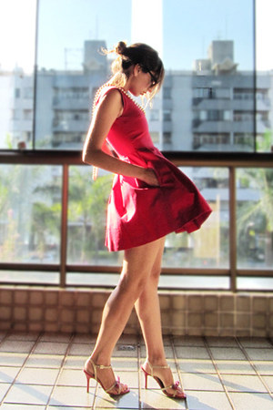 red Zara dress - cream avida sandals