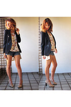 cream vintage dress - black Renner jacket - blue Zara shorts - Zara heels