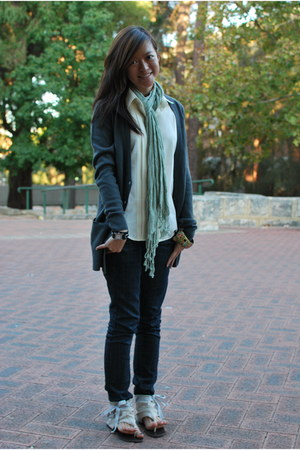 dark denim Mango jeans - lace Dotti scarf - tie-string rubi sandals - woolly f21