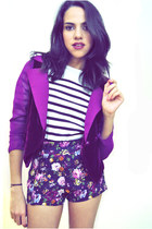 black Aldo boots - magenta Beacons closet jacket - navy Forever 21 shorts - Oysh