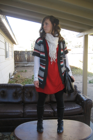 black simply vera wang boots - red Old Navy dress - black Forever 21 leggings - 