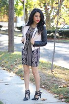 faux leather OASAP jacket - bodycon Forever 21 dress - Charlotte Russe heels