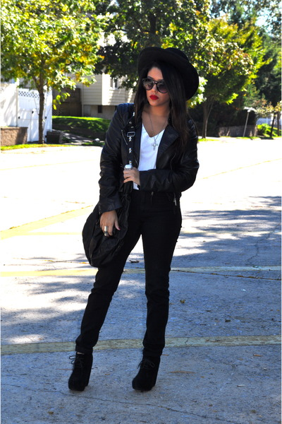 Nasty Gal hat - H&M jacket - H&M pants - Bakers wedges