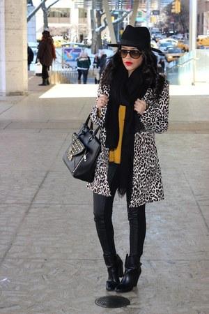 OASAP coat - Forever 21 boots - H&M hat - H&M leggings