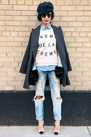 sky blue Diesel jeans - dark gray Dolce & Gabbana hat - periwinkle Zara shirt