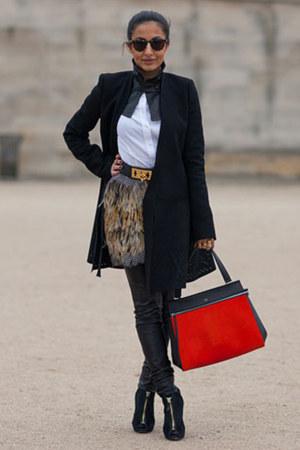 black Tom Ford boots - black balenciaga coat - carrot orange Celine bag