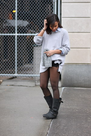 H&M hat - Steve Madden boots - H&M sweater - Club Monaco shirt