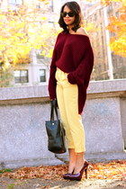 Forever 21 pumps - nastygal sweater - romwe bag - Ray Ban sunglasses
