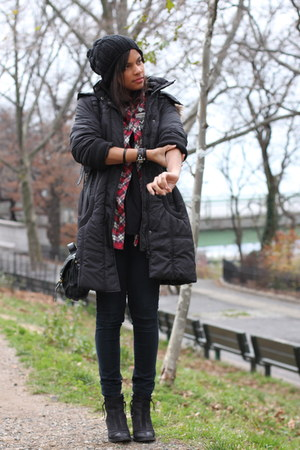 Topshop boots - nastygal coat - H&amp;M hat - romwe shirt - Topshop bag