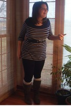 blue Old Navy shirt - black wal-mart leggings - gray Wet Seal boots - white wal-