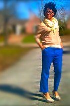 tan Old Navy sweater - light yellow H&M scarf - blue ankle pants asos pants
