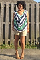 turquoise blue draped Wet Seal blouse - tan khaki Old Navy shorts