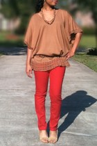 red Old Navy jeans - bronze poncho H&M blouse