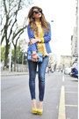 Yellow-sarenzait-shoes-blue-queens-wardrobe-jacket-blue-coccinelle-bag-bag