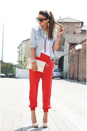 light blue my creation jacket - sarenza bag - red Disco Pony panties