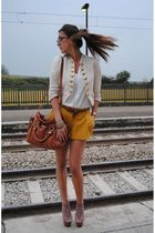 brown Miu Miu bag - beige Steve Madden shoes - yellow pretportobello jacket