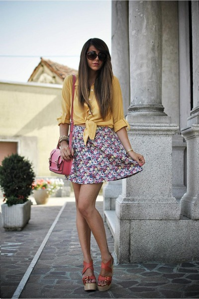 hot pink romwe bag - light yellow Forever 21 shirt