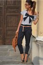 brown Miu Miu bag - blue roberto della croce shoes - white asos shirt