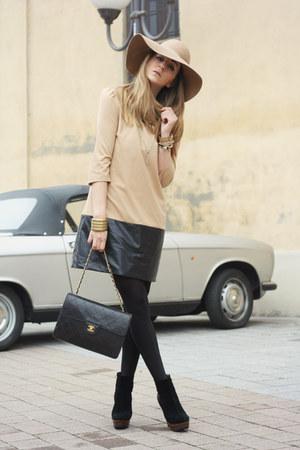 tan H&M hat - nude Zara dress - black Chanel bag