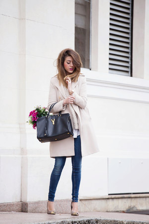 beige rinasciment coat - navy Fornarina jeans - black Yves Saint Laurent bag