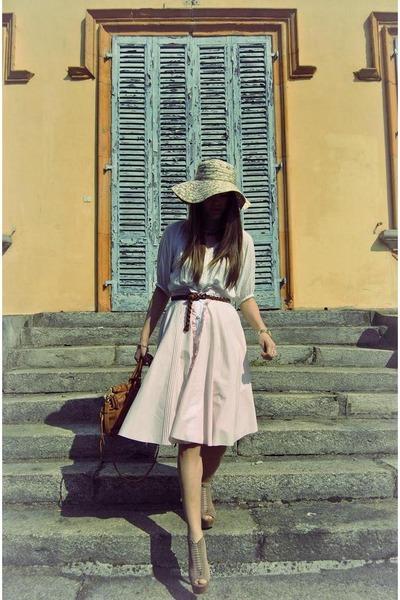 light pink Steve Madden heels - ivory Zara shirt