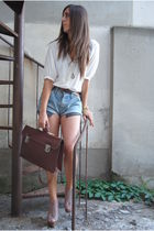 brown bag vintage bag - blue Leviss short shorts - beige Steve Madden Shoes shoe