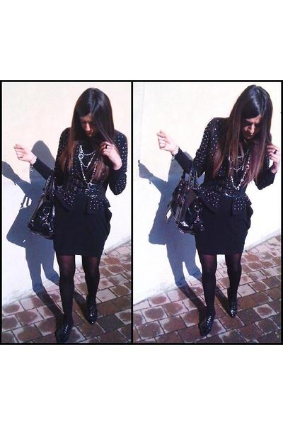 black H&M jacket - black H&M dress - black asos shoes - gray Chanel necklace - b