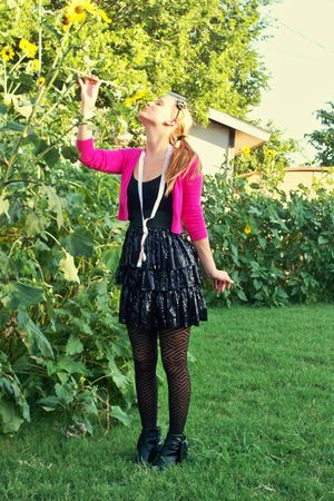pink Old Navy cardigan - black Vanity dress - black merona tights - black Mix It