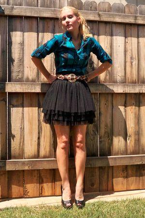 blue Vanity shirt - brown thrifted belt - black skirt - black Delicious shoes