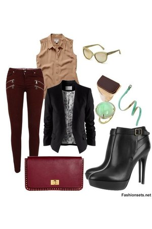 black boots - black blazer - brick red bag - crimson pants