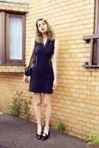 black loafer Topshop shoes - navy tennis dress dress - black leather bag H&M bag