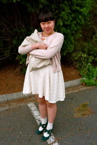 eggshell Friends Couture dress - tan DIY bag - ivory Muji socks - light pink uni