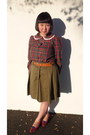 Ruby-red-american-rag-blouse-tawny-thrifted-belt-olive-green-mastina-skirt-