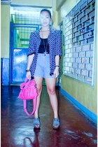 own design blazer - hot pink satchel figliarina bag - blue high-waisted BNY shor