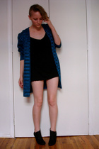 vintage 80s blue & black striped top