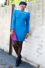 Teal-fringe-thrifted-vintage-dress