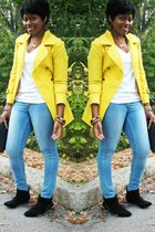 yellow coat - white t-shirt